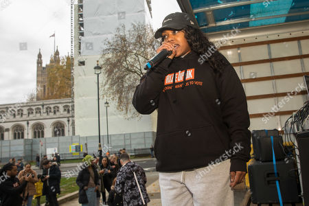 Stock Image of Independent youth campaigners, Rize Up host guerilla gig on Parliament Square with Lady Leshurr to encourage marganilised young people to register to vote by 26th November deadline.