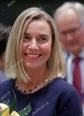 European Union Foreign Policy chief Federica Mogherini smiles as she attends her last council meeting the EU Foreign Affairs Council (development) meeting in Brussels, Belgium, 25 November 2019. European Commissioner-designate as High Representative of the Union for Foreign Affairs and Security Policy, Spanish, Josep Borrell will take over the job from 1 December