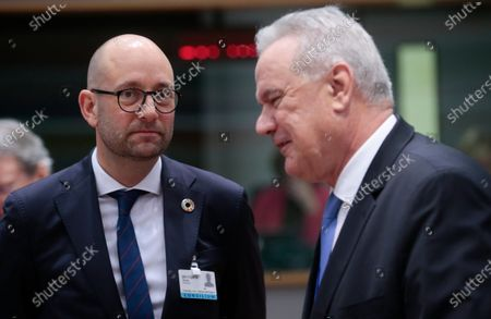 Danish Minister for Development Cooperation Rasmus Prehn (L) and EU Commissioner for International Cooperation and Development Neven Mimica (R) during an EU Foreign Affairs Council (Development) meeting in Brussels, Belgium, 25 November 2019. Council will debate a document to allow the next European Commission to start work in December without a U.K. commissioner.