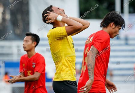 Muhammad Abdul Razak (C) of Malaysia reacts during the SEA Games 2019 men's first round soccer match between Malaysia and Myanmar in Manila, Philippines, 25 November 2019.