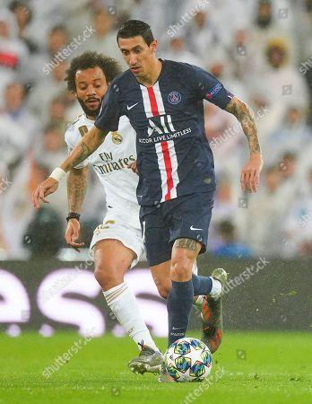 Marcelo of Real Madrid and Angel Di Maria of Paris Saint-Germain