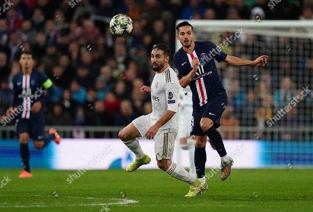 Dani Carvajal of Real Madrid and Pablo Sarabia of Paris Saint-Germain in action
