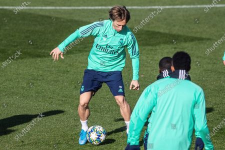 Real Madrid's Croatian midfielder Luka Modric attends a training session at the team's Valdebebas Sports City in Madrid, Spain, 25 November 2019. Real Madrid will face Paris Sant Germain in a UEFA Champions League group stage soccer match at Santiago Bernabeu stadium on 26 November 2019.