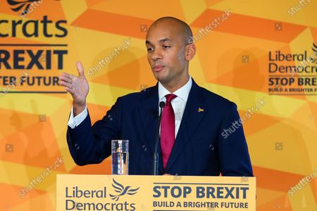 Liberal Democrat Foreign Affairs Spokesman Chuka Umunna speaks to party activists and supporters at Watford Football Club on Liberal Democrat foreign policy.