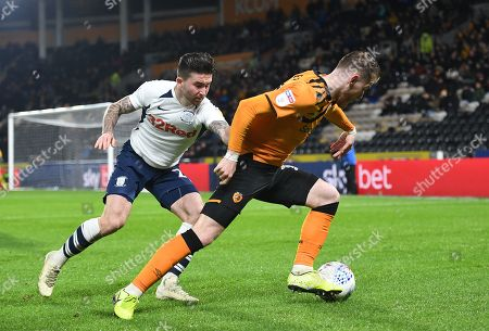 Stock Image of Sean Maguire of Preston North End and Josh Bowler of Hull City