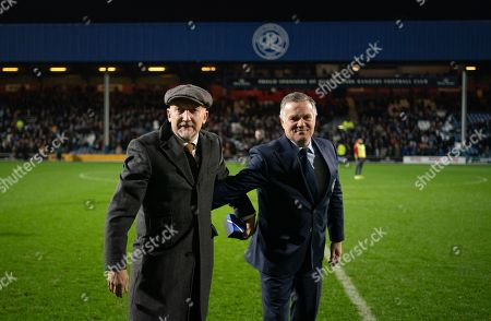 Former QPR Manager Ian Holloway and Andy Sinton at half-time