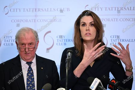 Stock Image of Kevin Donnelly (L) and Peta Credlin speak during a book launch in Sydney, New South Wales, Australia, 25 November 2019. A Politically Correct Dictionary and Guide, by conservative commentator Dr Kevin Donnelly was launched pm the day in Sydney.