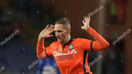 Udinese's Lukasz Teodorczyk gestures during a Serie A soccer match between Sampdoria and Udinese, at the Luigi Ferraris stadium in Genoa, Italy
