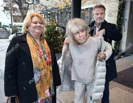 Stock Picture of Princess Birgitta with Gunilla Ivarsson and Tommy Ivarsson from Jontefonden foundation, outside the Park Hotel