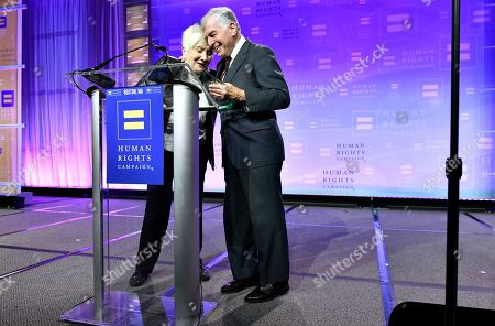 Stock Photo of Recipient of the Ally For Equality Award, Actress Olympia Dukakis, is joined by her cousin, former Mass. Gov. Michael Dukakis during the 37th annual HRC New England dinner on in Boston. The HRC New England dinner brings hundreds of LGBTQ advocates and allies together for an evening of celebration across greater New England