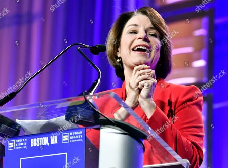Stock Image of Sen. Amy Klobuchar D-Minn joined Human Rights Campaign President Alphonso David, and Actress Olympia Dukakis, as speakers at the 37th annual HRC New England dinner on in Boston. The HRC New England dinner brings hundreds of LGBTQ advocates and allies together for an evening of celebration across greater New England