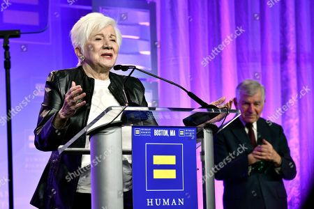Recipient of the Ally For Equality Award, Actress Olympia Dukakis, speaks as her cousin, former Mass. Gov. Michael Dukakis, looks on during the 37th annual HRC New England dinner on in Boston. The HRC New England dinner brings hundreds of LGBTQ advocates and allies together for an evening of celebration across greater New England
