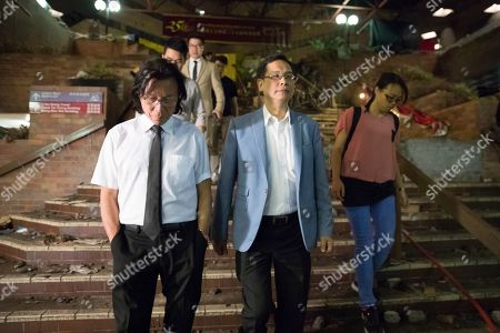 Stock Picture of Ip Kin Yuen, center, legislative councillor, leave Polytechnic University after meeting the protesters in Hong Kong, . Hong Kong's pro-democracy opposition won a stunning landslide victory in weekend local elections in a clear rebuke to city leader Carrie Lam over her handling of violent protests that have divided the semi-autonomous Chinese territory