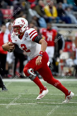 Nebraska quarterback Adrian Martinez (2) runs against Maryland during the first half of an NCAA college football game, in College Park, Md