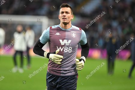 Stock Photo of Aston Villa goalkeeper Lovre Kalinic (28) during the Premier League match between Aston Villa and Newcastle United at Villa Park, Birmingham
