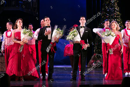 Danielle Hope (Betty Haynes), Danny Mac (Bob Wallace), Dan Burton (Phil Davis) and Clare Halse (Judy Haynes) during the curtain call