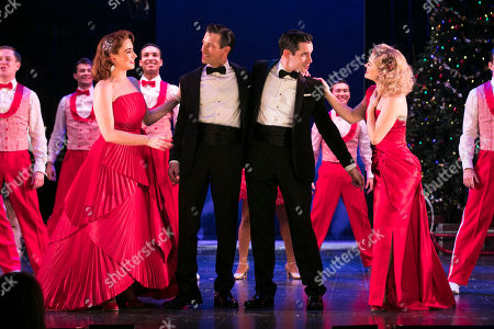 Danielle Hope (Betty Haynes), Danny Mac (Bob Wallace), Dan Burton (Phil Davis) and Clare Halse (Judy Haynes) during the curtain call