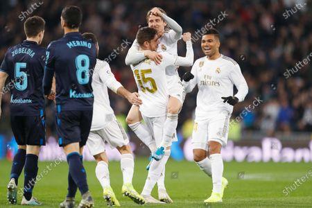 (L-R) Federico Valverdein action against Luka Modric of Real Madrid