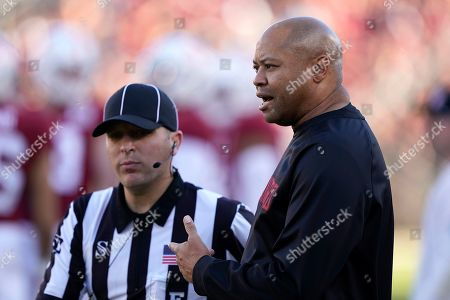 Name of person or event. Stanford head coach David Shaw during the second half of an NCAA college football game against California in Stanford, Calif