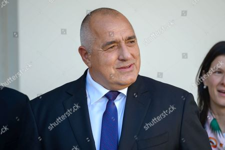 Bulgarian Prime Minister Boyko Borissov speaks to reporters while being welcomed to the White House.