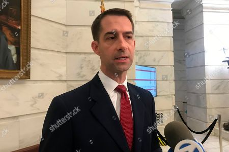 Republican U.S. Sen. Tom Cotton talks to reporters after filing for re-election at the Arkansas state Capitol in Little Rock, Arkansas. The chairman of the Arkansas Democratic Party says there's no path for replacing the challenger to Republican Sen. Tom Cotton after the party's previous candidate abruptly dropped out following the state's filing deadline. Chairman Michael John Gray said, the party has been unable to find a way to legally replace Josh Mahony, who ended his candidacy to challenge Cotton two hours after the filing deadline passed, citing a family health concern