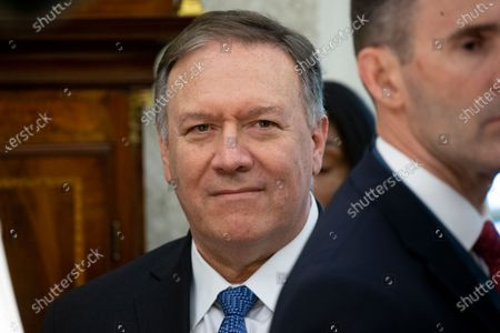 US Secretary of State Mike Pompeo stands in the Oval Office during the meeting of the US President and Prime Minister of Bulgaria, at the White House.