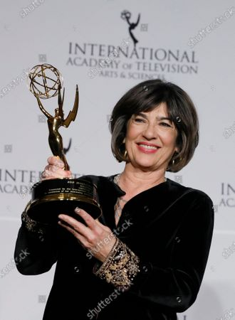 British-Iranian journalist Christiane Amanpour holds the Directorate Award at the 47th International Emmy Awards Gala at the New York Hilton hotel in New York, USA, 25 November 2019.