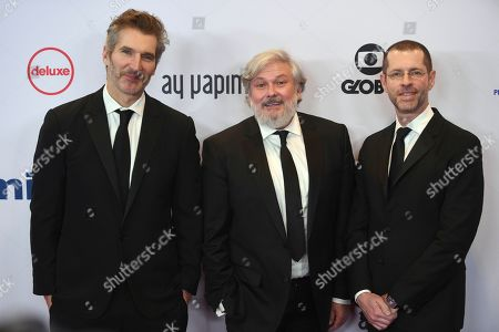 D. B. Weiss, David Benioff, Conleth Hill. D. B. Weiss, from left, David Benioff and Conleth Hill arrive at the 47th International Emmy Awards gala at the Hilton Hotel, in New York