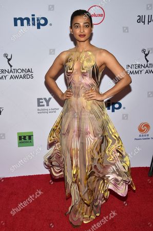 Stock Image of Radhika Apte arrives at the 47th International Emmy Awards gala at the Hilton Hotel, in New York