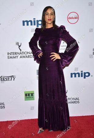 Zawe Ashton arrives at the 47th International Emmy Awards gala at the Hilton Hotel, in New York