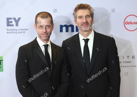 Stock Photo of D. B. Weiss, David Benioff. D. B. Weiss, left, and David Benioff arrive at the 47th International Emmy Awards gala at the Hilton Hotel, in New York