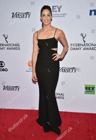Catherine Reitman arrives at the 47th International Emmy Awards gala at the Hilton Hotel, in New York