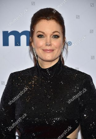 Bellamy Young arrives at the 47th International Emmy Awards gala at the Hilton Hotel, in New York