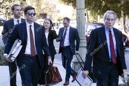 (L-R) British diver Vernon Unsworth's attorneys Matt C. Wood, Taylor Wilson, Nicole Jennings Wade, Jonathan David Grunberg and L. Lin Wood arrive at the 1st Street Courthouse for the pre-trial conference in the litigation against Tesla and SpaceX CEO Elon Musk's lawyers, in Downtown Los Angeles, California, USA, 25 November 2019. Unsworth is suing Elon Musk for defamation after the Tesla CEO called him 'pedo guy' on Twitter. The trial is scheduled to begin 03 December.