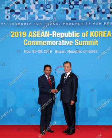South Korean President Moon Jae-in (R) shakes hands with Sultan of Brunei Hassanal Bolkiah (L) before the first session of the ASEAN-South Korea Commemorative Summit in Busan, South Korea, 26 November 2019. The special summit between South Korea and the Association of Southeast Asian Nations (ASEAN) members runs from 25 through to 26 November 2019 in Busan.