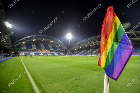 Rainbow flags at the John Smith Stadium showing support for Stonewall's `Rainbow laces week.