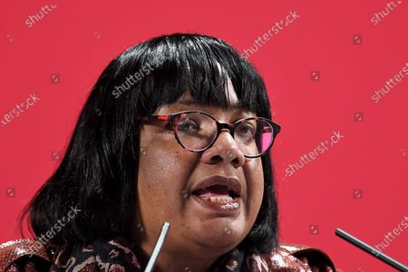 Diane Abbott, shadow Home Secretary, speaking at the launch of Labour's new Race and Faith manifesto.