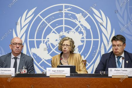 Inger Andersen (C), Executive Director of the United Nations Environment Programme (UNEP), John Christensen (L), Director of UNEP-Danish Technology Institute Partnership, and Petteri Taalas (R), Secretary-General of the World Meteorological Organization (WMO), attend a press conference about the UNEP's annual Emissions Gap Report at the European headquarters of the United Nations in Geneva, Switzerland, 26 November 2019.