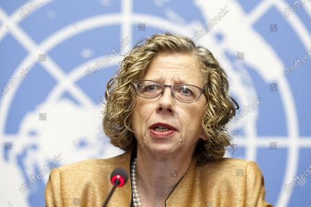 Inger Andersen, Executive Director of the United Nations Environment Programme (UNEP), speaks to the media about the UNEP's annual Emissions Gap Report during a press conference at the European headquarters of the United Nations in Geneva, Switzerland, 26 November 2019.