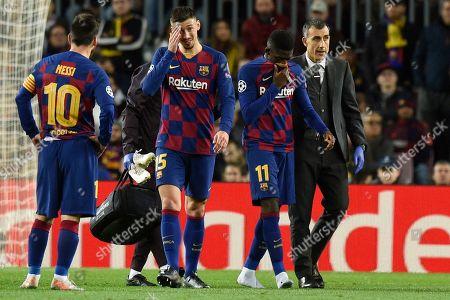 Stock Image of Ousmane Dembele of FC Barcelona injury