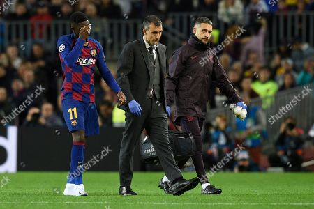 Stock Photo of Ousmane Dembele of FC Barcelona injury