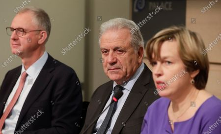 Stock Picture of (L-R) Alexis Goosdeel, the Director of European Monitoring Centre for Drugs and Drug Addiction (EMCDDA), European Union (EU) Commissioner for Migration and Home Affairs Dimitris Avramopoulos, and Catherine De Bolle, the Europol managing Director, give a press conference to present the European Drug Markets Report 2019, in Brussels, Belgium, 26 November 2019.