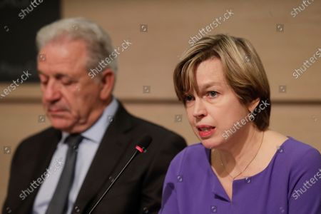 Stock Photo of European Union (EU) Commissioner for Migration and Home Affairs Dimitris Avramopoulos (L), and Catherine De Bolle (R), the Europol managing Director, give a press conference to present the European Drug Markets Report 2019, in Brussels, Belgium, 26 November 2019.