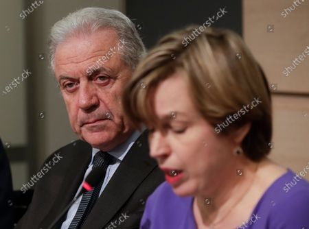 European Union (EU) Commissioner for Migration and Home Affairs Dimitris Avramopoulos (L), and Catherine De Bolle (R), the Europol managing Director, give a press conference to present the European Drug Markets Report 2019, in Brussels, Belgium, 26 November 2019.