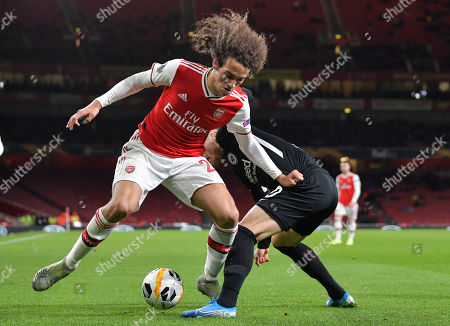 Matteo Guendouzi of Arsenal under pressure from Filip Kostic of Eintracht Frankfurt