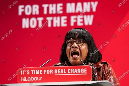 Shadow Home Secretary, Diane Abbott speaks at the launch of Labour Party's Race and Faith Manifesto at the Bernie Grant Arts Centre in Tottenham, North London.