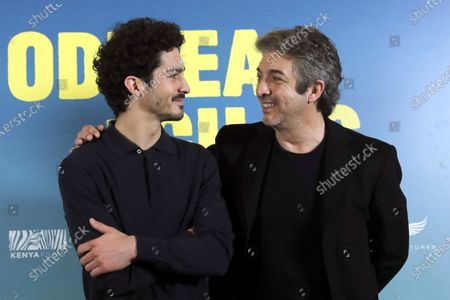 Argentinian actors/cast members Ricardo Darin (R) and his son Chino Darin pose during the presentation of the film 'La odisea de los giles' (Heroic Losers) in Madrid, Spain, 26 November 2019. The movie opens in Spanish theaters on 29 November.