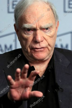 Stock Picture of US scriptwriter and story consultant Robert McKee speaks during an interview with Spanish international news agency EFE in Madrid, Spain, 26 November 2019, on the occasion of his visit to the city to give a story seminar at the ECAM Cinematography School.