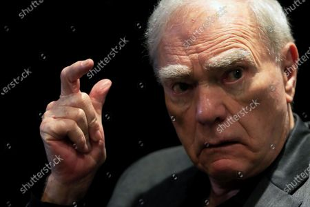 Stock Image of US scriptwriter and story consultant Robert McKee speaks during an interview with Spanish international news agency EFE in Madrid, Spain, 26 November 2019, on the occasion of his visit to the city to give a story seminar at the ECAM Cinematography School.