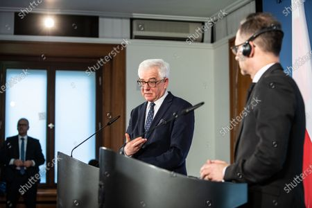 Polish Foreign Minister Jacek Czaputowicz (L) and German Foreign Minister Heiko Maas (R) during a joint press conference at the German Foreign Ministry in Berlin, Germany 26 November 2019.
